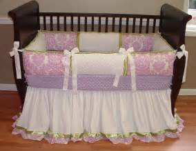 Lavender And Green Crib Bedding Damask Baby Bedding This Custom 3 Baby Crib Bedding Set Includes The Bumper Pad