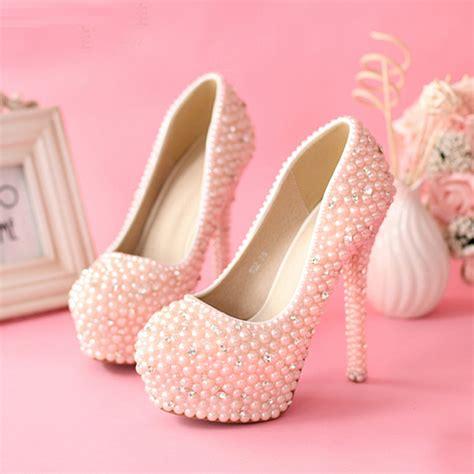 Murano Sandal Heels 5 Cm Pink sweetness pink pearls wedding shoes rhienstone pumps jeweled high heel 5 5 inches bridal