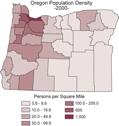 map of oregon population map catalog thematic map