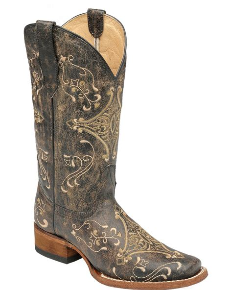 Country Boots Black Emperor circle g embroidered boots square toe
