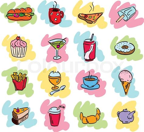 doodle food icons vector doodle set of cafe food icons stock vector colourbox