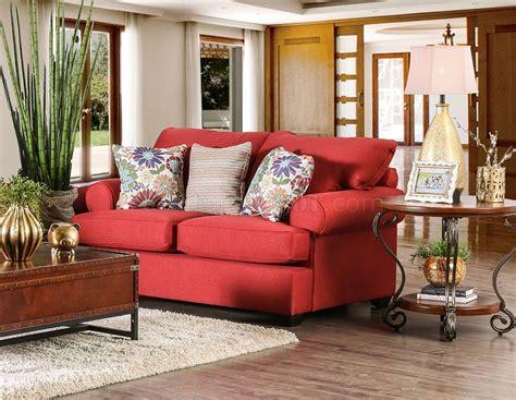 rena sofa rena sofa sm1277 in red premium fabric w options