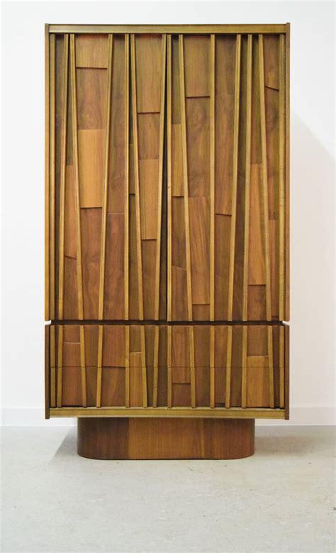 mid century armoire mid century brutalist walnut tall armoire at 1stdibs
