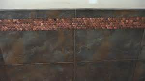 Modwalls real penny mosaics penny round metallic copper mosaic wall