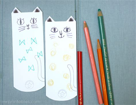 cat paper pattern and marks distribution 6 best images of printable cat bookmarks craft kids free