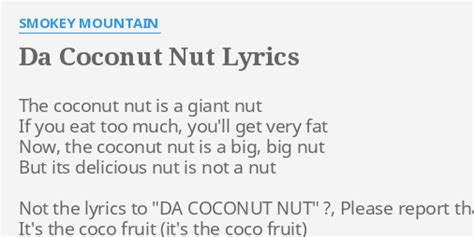 coconut song quot da coconut nut quot lyrics by smokey mountain the coconut