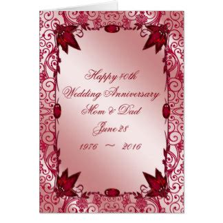 Wedding Anniversary Wishes Posters by Ruby Wedding Anniversary Greeting Cards Zazzle