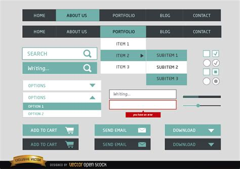 design menu asp net web design menu simple elements vector download