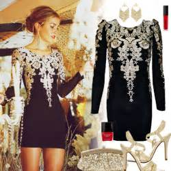 Holiday cocktail party dress black and gold cocktail party dress