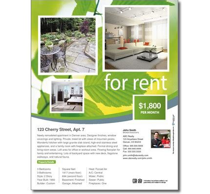 rental property flyer template for rent flyer