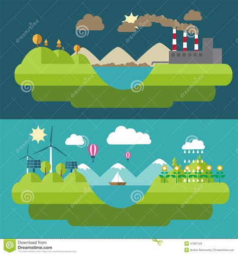 design green environment set flat design illustrations with icons of environment