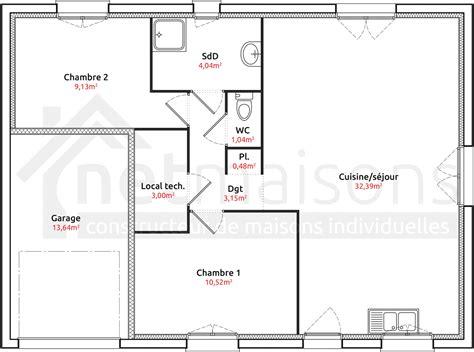 Plan Maison Plain Pied 2 Chambres 3694 by Plan De Maison Avec 2 Chambres Gf05 Jornalagora
