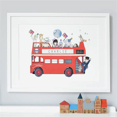bysabys bys a bys personalised london bus nursery print by daisy bump