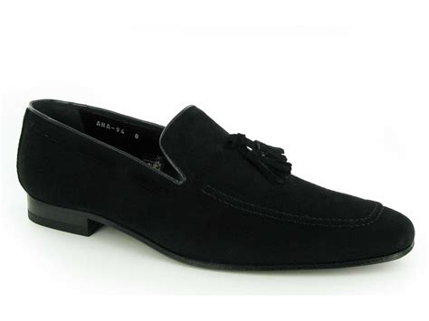 mens suede loafers with tassels shuperb suave mens suede leather chisel toe tassel loafers