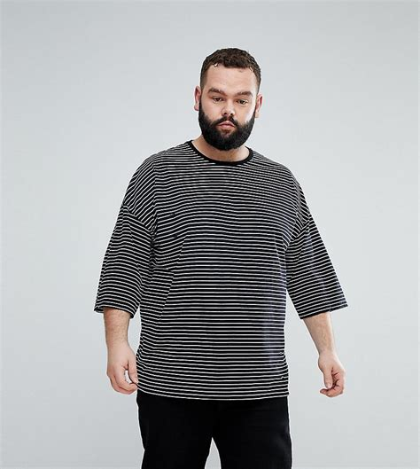 Asos Oversized Stripe T Shirt lyst asos plus oversized stripe t shirt with distressing