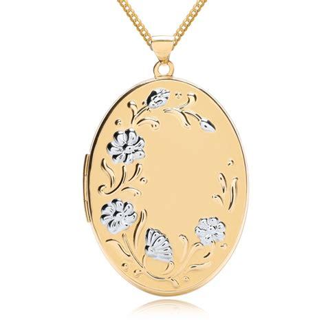 gold pattern locket flower pattern oval locket personalised 9ct yellow