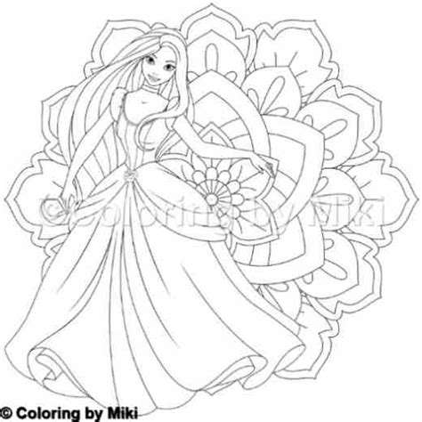 mandala  princess coloring page