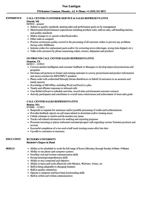 sle of resume objectives for call center call center sales representative resume sles velvet