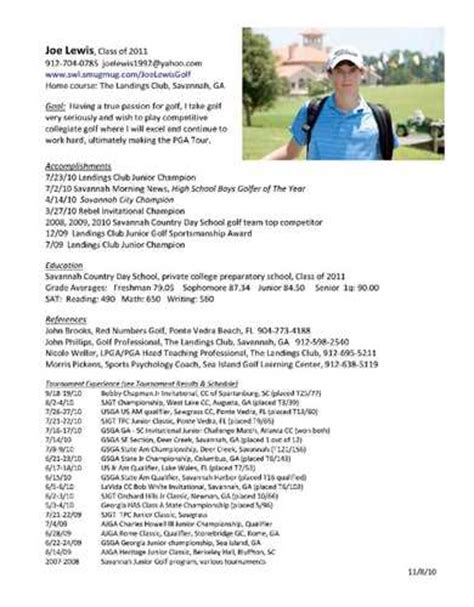 Cover Letter For A Resume Example by College Golf Resumes Related
