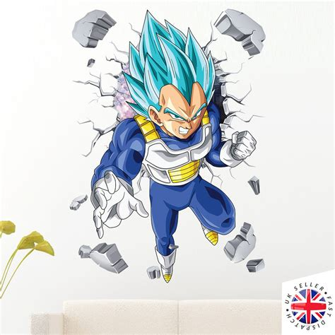 e vegeta a letto 3d vegeta dio saiyan wall sticker