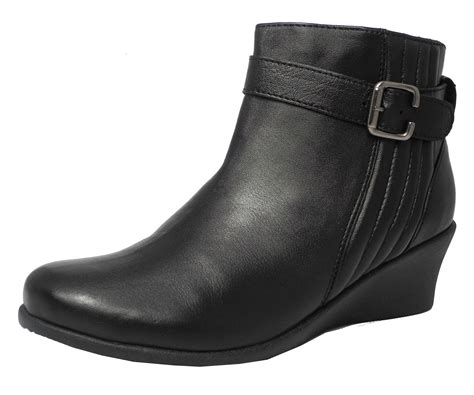 comfort wedge boots womens ladies mod comfys leather comfort wedge heel ankle