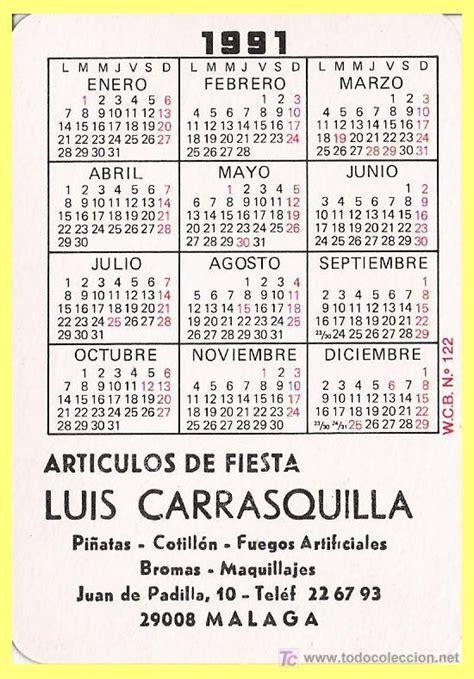 Calendario De 1991 Calendario De Bolsillo Publicidad Lu Comprar