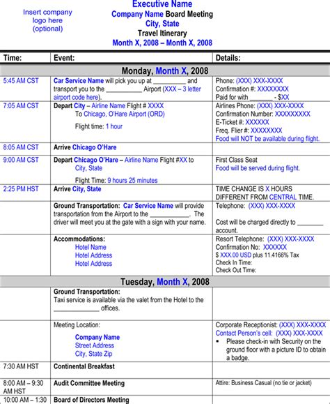 airline itinerary template flight itinerary templates sles for word excel