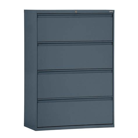 Horizontal File Cabinet Sandusky 800 Series 30 In W 4 Drawer Pull Lateral File Cabinet In Charcoal Lf8f304 02