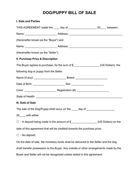 puppy bill of sale free puppy bill of sale form pdf word eforms free fillable forms