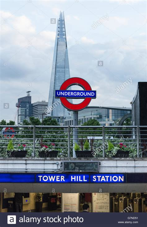 tower at hill entrance to tower hill station with tfl roundel and