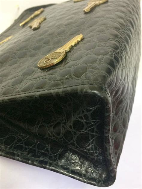 Koobas Antique And Ebany Mackenzie Embossed Clutches by Vintage Moschino Classic Croc Embossed Black Leather