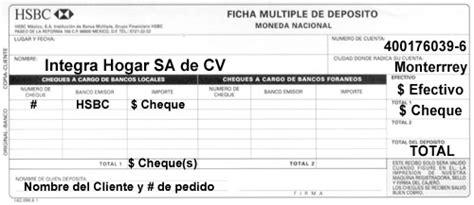 deposito de cheque integrahogar com ficha de depsito hsbc
