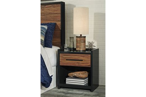 Black And Brown Nightstand Stavani One Drawer Stand In Black And Brown By