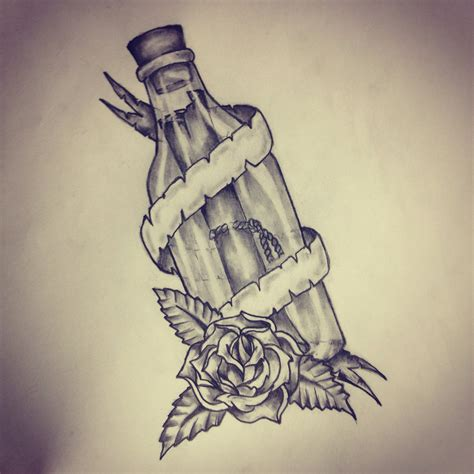 message in a bottle tattoo message in a bottle sketch by ranz