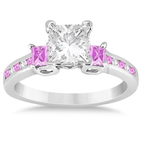 pink sapphire three engagement ring 14k white gold 0