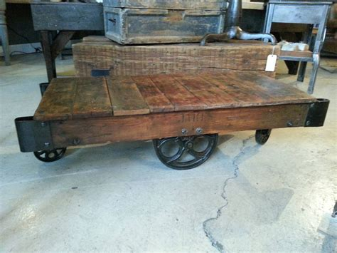 vintage industrial factory cart coffee table by