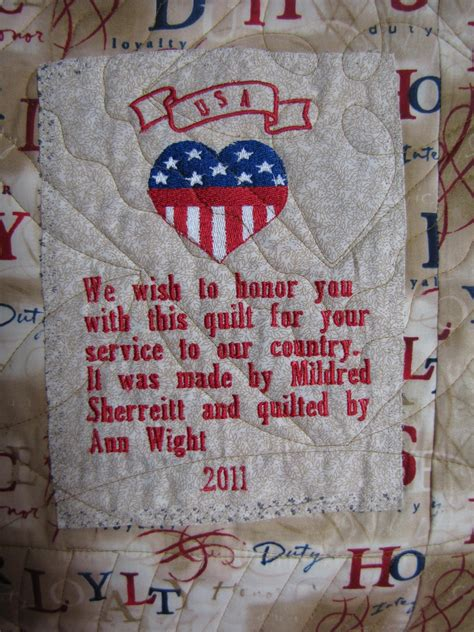 Quilt Of Valor Label by Quilting In The Bunkhouse July 2011