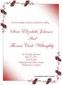 Wedding Invite Word Template by Free Wedding Invitation Template Page Word
