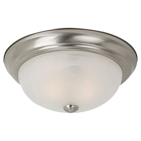 Flush Mounted Ceiling Light Fixtures Shop Sea Gull Lighting 13 In W Brushed Nickel Ceiling Flush Mount At Lowes