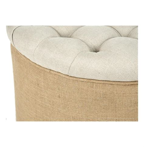 round linen ottoman riley french country round linen burlap tufted ottoman