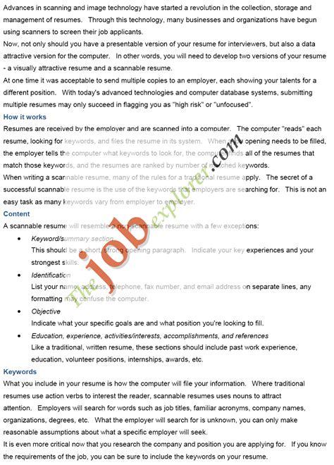 Scannable Version Of Resume by Electronic Resume Eresume