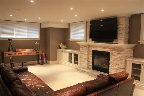basement fireplace ideas basement contemporary with stone