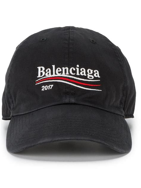 lyst balenciaga caign logo embroidered hat in black for