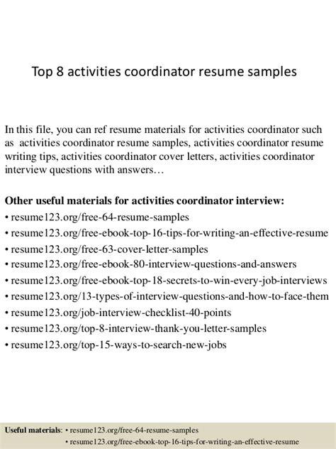 Resume Activities Coordinator Top 8 Activities Coordinator Resume Sles