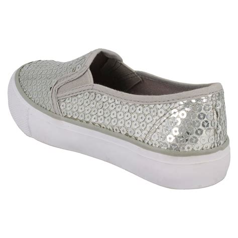 spot on flat casual sequined shoes slip on ebay