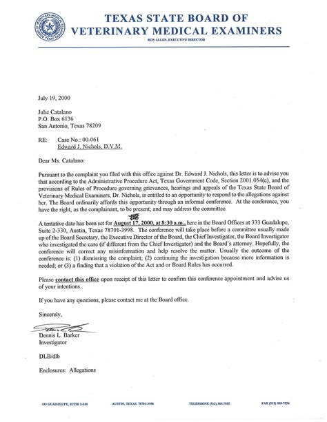 Informal Letter Complaint About Service Notification Of Informal Conference And Allegations Re