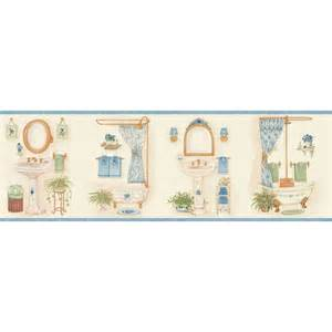 shop allen roth 6 7 8 quot blue vintage bathroom prepasted