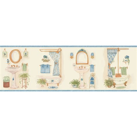 bathroom border wallpaper shop allen roth 6 7 8 quot blue vintage bathroom prepasted
