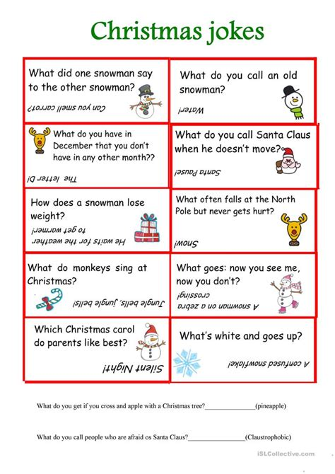 christmas cracker jokes to print jokes worksheet free esl printable worksheets made by teachers