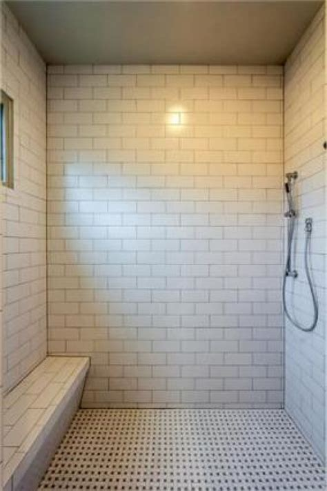 Subway Tile Bathroom Floor Ideas Beautiful Subway Tile Floor To Ceiling In This Shower Masterful Bathrooms Pinterest A